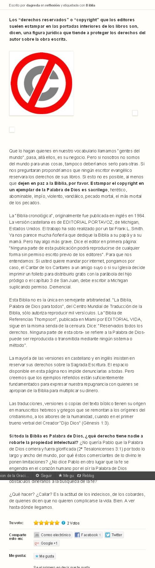 ¿Quien tiene los derechos de autor (Copyright) de la Biblia- - Comunion de la Gracia