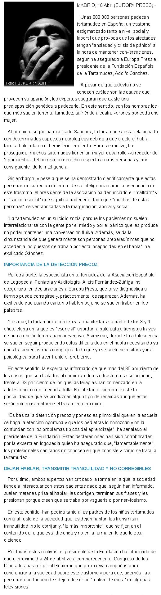 Unas 800.000 personas padecen tartamudez en España